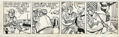 ROGER ARMSTRONG - NAPOLEON DAILY STRIP ORIG ART 1-26-60 OVEN-WARMED SHOES