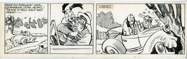 ROGER ARMSTRONG - NAPOLEON DAILY STRIP ORIG ART 2-5-60 MAN'S BEST ROAD HAZARD