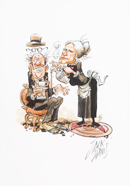 JACK DAVIS - VERY HOT TEA ILLUSTRATION ORIGINAL ART