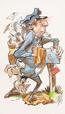 "JACK DAVIS - ""MAILMAN"" 1968 TOPPS KRAZY PEOPLE POSTER #14 Original ART"