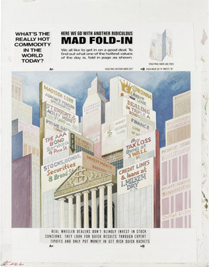 "AL JAFFEE - MAD #262 BACK COVER ""FOLD-IN"" ORIG ART (1986) ROCK CONCERT TICKET"