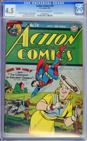 ACTION COMICS #74 (1944) CGC VG+ 4.5 OWW Pages - LAST AMERICOMMANDO