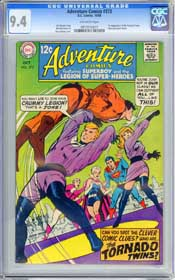 ADVENTURE COMICS #373 (1968) CGC NM 9.4 OW Pages - 1st appr. TORNADO TWINS