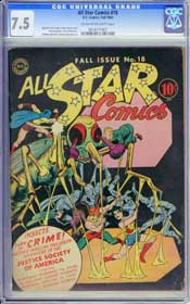 ALL STAR COMICS #18 (1943) CGC VF- 7.5 COW Pages - GARDNER FOX