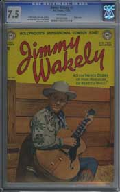 JIMMY WAKELY #3 (1950) CGC VF- 7.5 WHITE Pages - FRANK FRAZETTA - PHOTO COVER