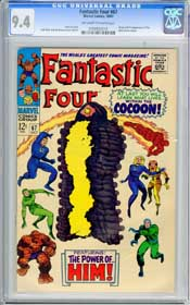 FANTASTIC FOUR #67 (1967) CGC NM 9.4 OWW -ORIGIN OF HIM (WARLOCK) - JACK KIRBY