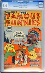 FAMOUS FUNNIES #148 (1946) CGC NM+ 9.6 OWW THANKSGIVING