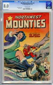 NORTHWEST MOUNTIES #2 (1949) CGC VF 8.0 OFF-WHITE Pgs - BOB LUBBERS - MATT BAKER