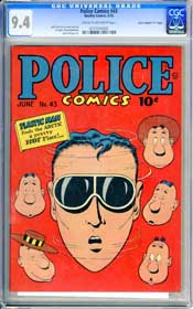 "POLICE COMICS #43 (1945) CGC NM 9.4 COW - ""D"" COPY - HIGHEST GRADED! PLASTIC MAN"