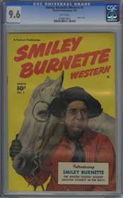 SMILEY BURNETTE WESTERN #1 (1950) CGC NM+ 9.6 WHITE Pages - HIGHEST GRADED!