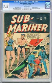 SUB-MARINER COMICS #26 (1948) CGC VF- 7.5 OW - NAMORA - BLONDE PHANTOM - TIMELY!
