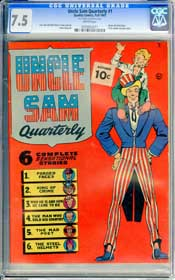 UNCLE SAM QUARTERLY #1 (1941) CGC VF- 7.5 WHITE Pages - ORIGIN - DAVE BERG