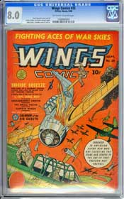 WINGS  COMICS #25 (1942) CGC VF 8.0 OFF-WHITE TO WHITE Pages - AIR CADETS