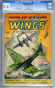 WINGS  COMICS #59 (1945) CGC NM 9.4 OFF-WHITE Pages - LEE ELIAS - CLIPPER KIRK