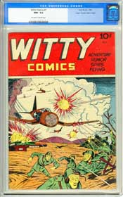 WITTY COMICS #1 (1945) CGC NM- 9.2 OWW Pages - EDGAR CHURCH - HIGHEST GRADED!