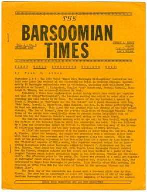 BARSOOMIAN TIMES #8 (1965) EDGAR RICE BURROUGHS FANZINE / NEWSLETTER