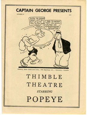 CAPTAIN GEORGE PRESENTS #37 (1970s) NOSTALGIA FANZINE - THIMBLE THEATRE / POPEYE