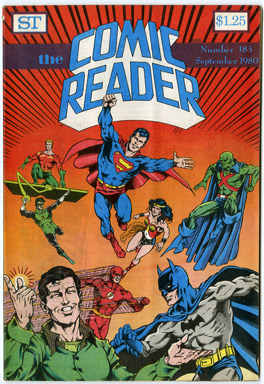 COMIC READER #183 FANZINE (1980) DENNIS JENSEN JUSTICE LEAGUE COVER