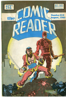 COMIC READER #212 FANZINE (1983) MIKE MIGNOLA - DAREDEVIL/MASTER OF KUNG-FU CVR