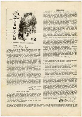 DUM-DUM #3 (1963) FANZINE / EDGAR RICE BURROUGHS / FRIENDZINE