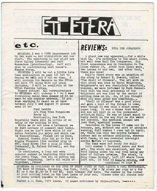 ETCETERA #4 (1971) FANZINE JIM WARREN INTERVIEW / LEGION OF SUPER-HEROES LEVITZ