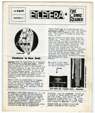 ETCETERA/THE COMIC READER #11/#79 (1971) FANZINE / PAUL LEVITZ Editor