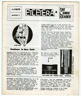 ETCETERA/THE COMIC READER #11/#79 (1971) FANZINE / PAUL LEVITZ Editor