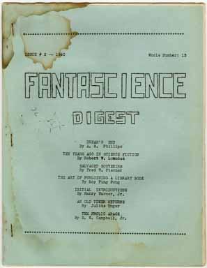 FANTASCIENCE DIGEST #13 (1940) FANZINE / HARRY WARNER JR.
