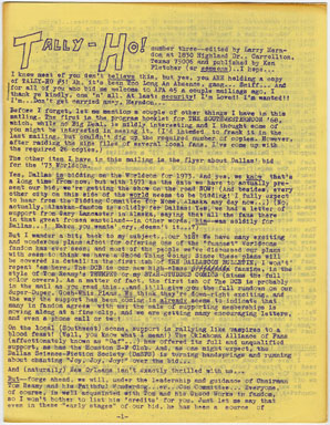 TALLY-HO #3 FANZINE (1969) LARRY HERNDON PERSONALZINE / SHE MONSTER