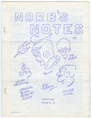 NORB'S NOTES #55 (1963) EDGAR RICE BURROUGHS FANZINE BUCK ROGERS COVER