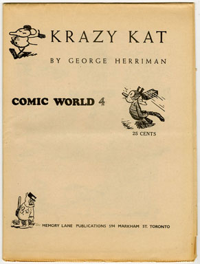 CAPTAIN GEORGE COMIC WORLD #4 (1960s) NOSTALGIA FANZINE - KRAZY KAT / HERRIMAN