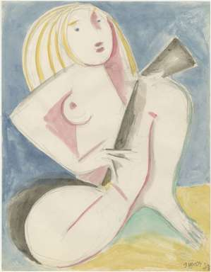 ZYGMUNT MAZUR - NUDE WOMAN with GUITAR - CUBIST Elements - 1974 Watercolor