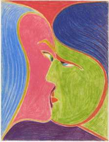 "ZYGMUNT MAZUR - ""A KISS"" - Colored Pencils on Paper - 1967"