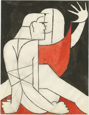 ZYGMUNT MAZUR - ONE SIDED AFFAIR - CUBIST ELEMENTS - Watercolor