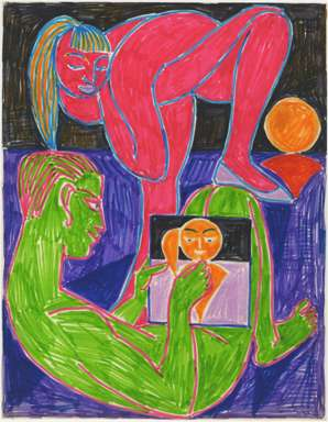 ZYGMUNT MAZUR-FAUVIST ARTIST w/ MODEL Drawing c1980s?