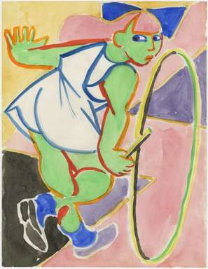 ZYGMUNT MAZUR-FAUVIST GIRL with HOOP Watercolor -1980s?