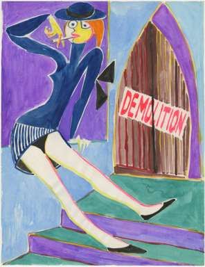 "ZYGMUNT MAZUR-""DEMOLITION"" Girl w/ CIGARETTE Watercolor"