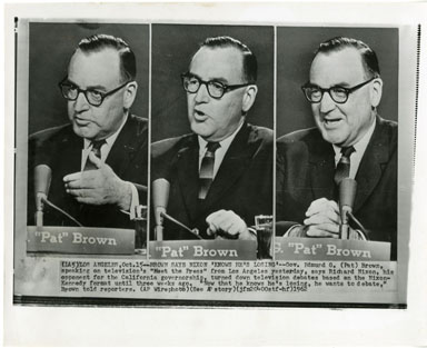 "NEWS PHOTO: GOV. EDMUND G. ""PAT"" BROWN CHALLENGES NIXON"