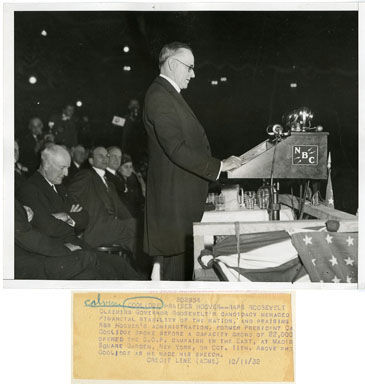 NEWS PHOTO: PRES. CALVIN COOLEGE PRAISES HOOVER (1932)