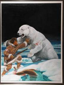 L.B. COLE - MAN'S TRUE ACTION #1 PAINTED COVER ORIG ART MAN VS. POLAR BEAR 1955