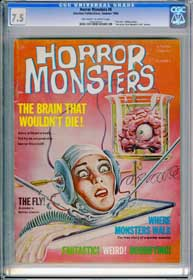 "HORROR MONSTERS #8 (1964) ""The Fly"" Article ""The Brain That Wouldn't Die"" photos"