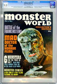 MONSTER WORLD #1 (1964) CGC VF/NM 9.0 MUMMY Comic Story - BLACK SLEEP Filmbook