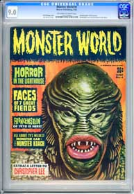 MONSTER WORLD #4  (1965) CGC VF/NM 9.0 - OWW Pg - FRANKENSTEIN - CHRISTOPHER LEE