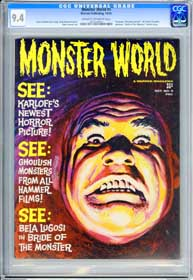MONSTER WORLD #5  (1965) CGC NM 9.4 BRIDE OF MONSTER - GRAY MORROW Painted Cover