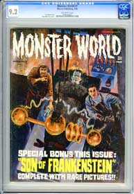 MONSTER WORLD #7 (1966) CGC NM- 9.2 OW Pg SON OF FRANKENSTEIN -GRAY MORROW Cover