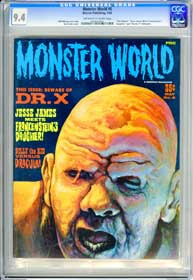 MONSTER WORLD #8 (1966) CGC NM 9.4 OWW  - THE GOLEM - BILLY the KID vs DRACULA