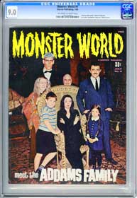 MONSTER WORLD #9 (1966) CGC VF/NM 9.0 OWW Pgs HORROR OF DRACULA - ADDAMS FAMILY