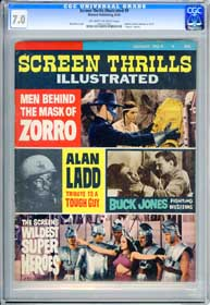 SCREEN THRILLS ILLUSTRATED #9 (1964) CGC FN/VF 7.0 - OWW Pgs - ZORRO - ALAN LADD
