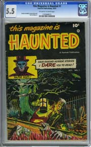 THIS MAGAZINE IS HAUNTED 1 (1951) CGC FN- 5.5 OWW pages GEORGE EVANS Art