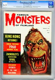 FAMOUS MONSTERS OF FILMLAND #6 (1960) CGC FN+ 6.5 COW Pages - KING KONG